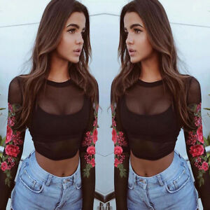 Womens Sexy Mesh Lace Appliques Rose Long Sleeve Blouse Tops T Shirt Pullover vv