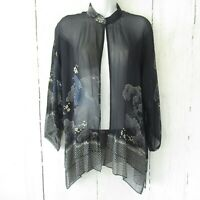 Citron Santa Monica Silk Kimono S Small Blue Floral Crane Bird Asian Cardigan