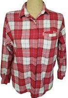 Vtg Diane Von Furstenberg Red White Long Sleeve Flannel Shirt Top Grunge Medium