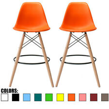 """Set of Two (2) Orange 25"""" Seat Height Bar Chair DSW Molded Plastic Barstool"""