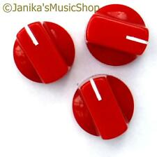3 red potentiometer switch knobs guitar  amplifier etc stove pot knob + screw