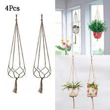 4pcs Macrame Plant Hanger Cotton Rope Flower Pot Hanging Planter Basket Holder
