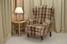 Designer Balmoral Mulberry Tartan Wing Back Fireside Chair - NEW