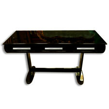 Stylish Black Art Deco Library Table or Desk with Original Chrome Hardware #7022