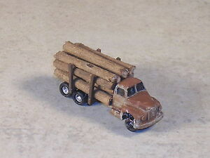 Z Scale 1955 B Model Mack Weathered Logging Truck