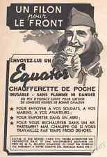 Publicité CHAUFFERETTE DE POCHE pour Soldat Militaria WWII Guerre 39-45 Ad 1940