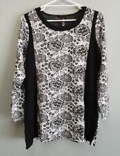 BNWT Ladies Sz 14 Eversun Brand Gorgeous Floral Black White Long Sleeve Tunic