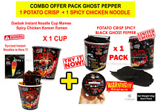 Noodles Spicy Chicken Instant + Potato Chips Crispy Ghost Pepper Combo Packs
