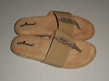 """Annie Shoes Women's """"Jana"""" Tan Slide Thong Sandals Shoes 8.5 M"""