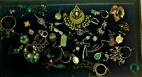 Lot Of 41 Single Pierced Earrings jade green Vintage Costume Jewelry