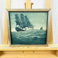 Vintage (1920s) Pirate Ship Genre Seascape Hand Pulled Lithograph