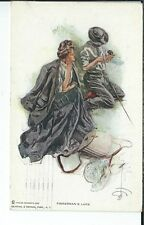 AU-134 - Fisherman's Luck, Harrison Fisher, Golden Age Postcard 1907-1915 Woman
