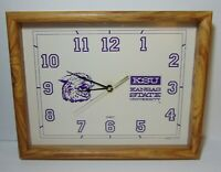 VINTAGE 1980s KANSAS STATE WILDCATS WILLIE THE WILDCAT BASKETBALL CLOCK USA MADE