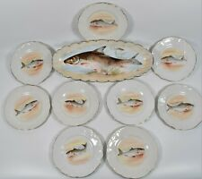 "Vintage 10 Limoges France Fish Plate LS&S Lazarus Straus & Sons 19"" Oval Server"