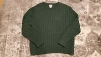 LL Bean Fisherman Chunky Cable Knit Heavy Sweater Green XL Mens