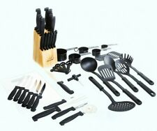 45 Pc Stainless Steel Kitchen Knives Knife Set w/ Block & Kitchen Utensils
