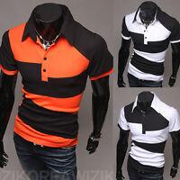 Men Shirt Casual Collared Tops Slim Short Sleeve T-Shirts Jersey Sports Golf Tee