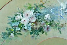 Tableau ancien jeté de fleurs Roses Lyon André PERRACHON LESAGE Soierie éventail