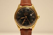 "VINTAGE RARE GOLD PLATED LADIES MECHANICAL WATCH ""ATLANTIC""21J/RELIEF BLACK DIAL"