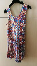 Hermes Multi-Colour geométrica Flip Capa De Seda Vestido Con Cinturón, Talla 34