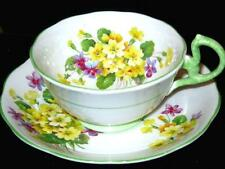 ROYAL ALBERT TEA CUP AND SAUCER YELLOW PRIMULA FLORAL SPRAY LIME HANDLE & TRIM