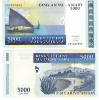 UNC MADAGASCAR 5000 Ariary (2009) P-91b