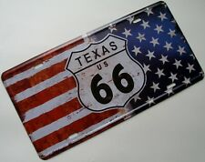 Blechschild Nostalgie Tin Sign Route 66 Texas Flagge Deko USA 16 x 30 cm