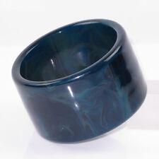 Vintage Bakelite Bracelet Bangle intense blue marble extra wide shape
