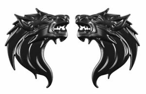 Pair 3D Quality Metal Wolf Head Badge Decals CAR Motorcycle Stickers - Black
