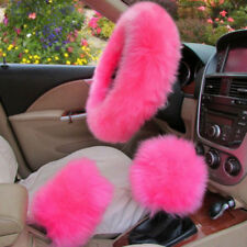 1Set Pink Long Furry Steering Wheel Cover Shifter Cover and Parking Brake Cover