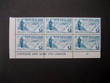 NEW ZEALAND 1967 PICTORIALS $1 PLATE BLOCK 1A NHM SG861