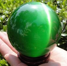 Hot Sell Asian Quartz Green Cat Eye Crystal Healing Ball Sphere 80MM + Stand