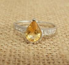 Cut Citrine 925 Sterling Sliver Solitaire Ring UK Size P 1/2-US 8
