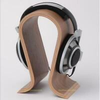 Wooden Headset Earphone Headphone U-shape Display Stand Hanger Holder Rack Brown