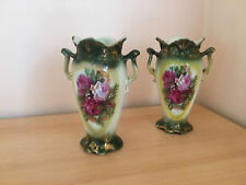 Pair vintage Staffordshire stone pottery collectable vases green/gold red rose