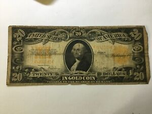 1922 Gold Certificate $20 Dollar Large Size Note US Currency ~ Low Grade Note NR