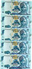 LOT Malawi, 5 x 50 Kwacha, 2015, Pick 58, UNC > Elephant