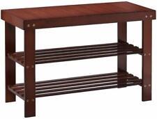Bamboo Shoe Rack Bench 3-Tier Shoe Organizer Storage Shelf Entryway Hallway