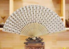 Japanese Folding Hand Clear Linen Bamboo Pocket Fan Transparent White Polka Dot