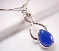 Blue Chalcedony Teardrop 925 Sterling Silver Pendant Corona Sun Jewelry