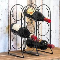 Vintage Counter Top 6 Bottle Metal Wire Wine Bottle Storage Rack Holder Crate