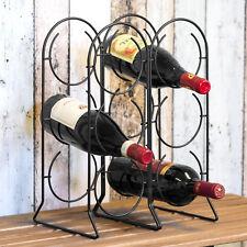 Wine Rack 6 Bottle Capacity - Black Metal Design - Vintage Table Top Organiser