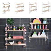3 Tier Retro Wall Hanging Wall Shelf Wooden Floating Display Shelves