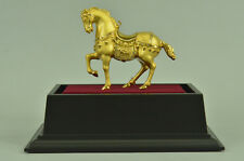Royal 100% purple Bronze 24K Gold Gild Tang Horse Lucky wealth Feng Statue Deal