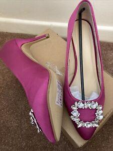 Heavenly Soles Magenta Pink Satin Effect Court Shoe With Gemstones Uk 5 EEE