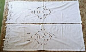 ANTICA Tenda Finestra Coppia LINO cm146x50 Ricamo Intaglio tendine tende vintage