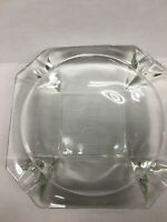 """Vintage Large Clear Glass Etched Cigar Ashtray - Sailboat And Seagulls 8 1/4"""""""