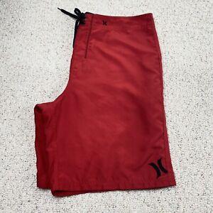 Hurley Mens Swim Trunks sz XL Red Lined Adjustable Waist Lightweight Side Pocket