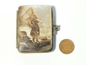 19thC OSTENDE Hand Carved Mother of Pearl Mounted Coin Purse Fisherwoman Scene