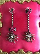 Betsey Johnson Creepy Critter Pink Crystal Spider Rose Mismatch Earrings RARE